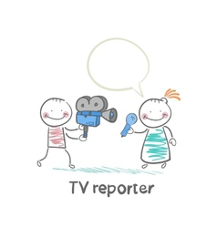TV reporter speaks into the camera vector image vector image