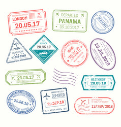 Visa stamps that put at airport by customs vector