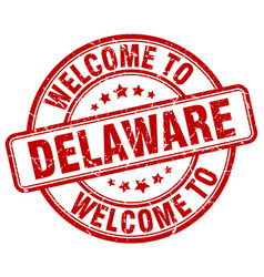 Welcome to delaware red round vintage stamp vector