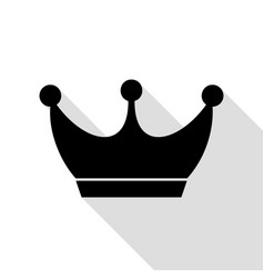 King crown sign black icon with flat style shadow vector