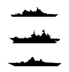 three warship silhouette vector image