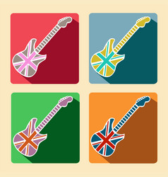 British guitar flat icons with long shadow vector