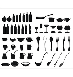 Icons of tableware and cutlery vector