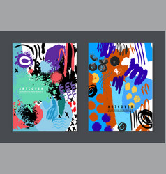Set of colorful artistic creative cards vector