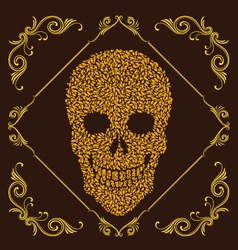 Leaf and ornamental skull vector