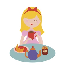 Cute girl drinks tea vector