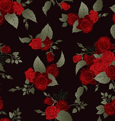 Seamless floral pattern with red roses on dark vector