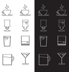 Set of cups and glasses in eps vector