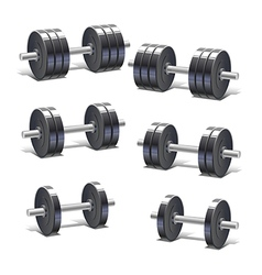 Set of dumbbells vector