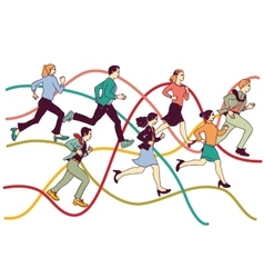 Business people group run on graph line vector