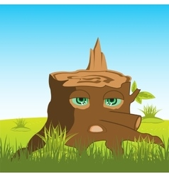 Cartoon stump with eye vector
