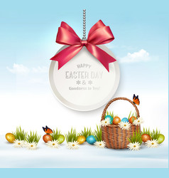 Holiday easter background with eggs in a basket vector