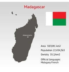 Maps of madagascar with flag vector