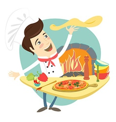 Funny chef preparing pizza dish in the kitchen vector