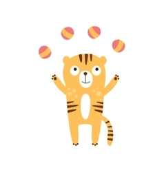 Tiger juggling with four balls vector