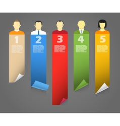 Color account avatars with bending paper banners vector