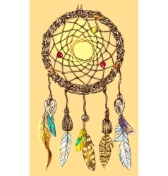 Hand drawn dreamcatcher vector
