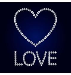 Shiny diamond heart valentine s day card vector