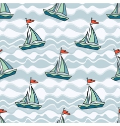 Sailing ship on the waves vector