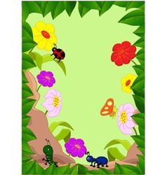 Collection of cartoon insects in the garden vector
