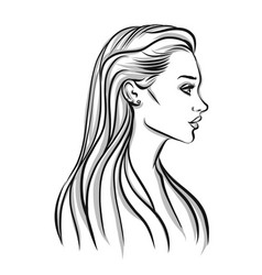 beautiful woman silhouette with long hair vector image vector image