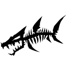 Black graphic dead fish skeleton with bones vector
