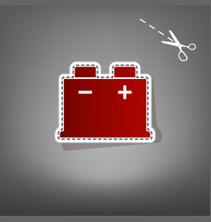 Car battery sign red icon with for vector