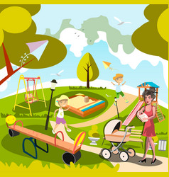 Cartoon mom with kids in the city park vector