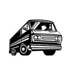 Closed delivery van retro vector