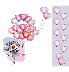 Clown with Heart Balloons Saying Happy Anniversary vector image vector image