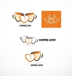 Coffee cup love heart logo set vector