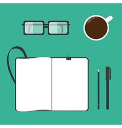 Coffee cup notebook glasses pen pencil vector