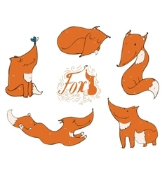 Colorful set of hand drawn cute ginger foxes in vector image