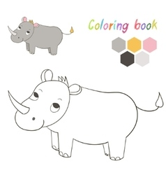 Coloring book rhino kids layout for game vector