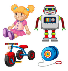 Doll and other toys on white background vector
