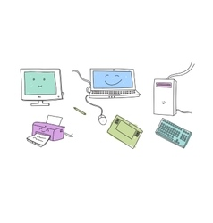 Doodle electronical devices vector image vector image