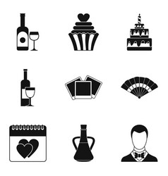 drinking wine icons set simple style vector image vector image