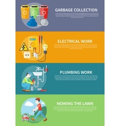 Electrical plumbing work and mowing lawn vector