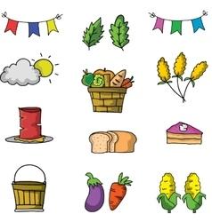 Element thanksgiving set on doodle vector