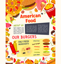 Fast food meals snacks and drinks poster vector