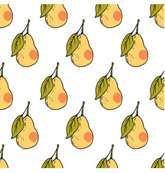 fresh pear hand drawn seamless pattern vector image vector image
