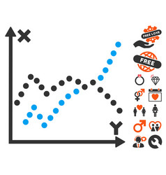 Functions plot icon with valentine bonus vector