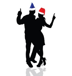 girl and man with christmas hat vector image vector image