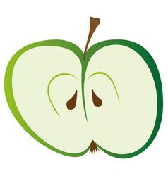 Half green apple vector