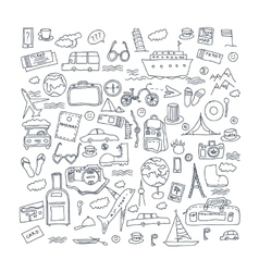 Hand drawn travel tourism doodles elements vector image