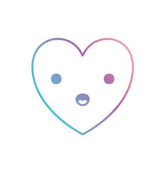 Heart kawaii in surprised expression in degraded vector