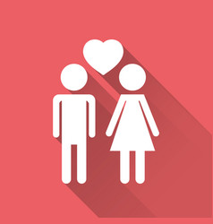 Man and woman with heart icon with long shadow vector