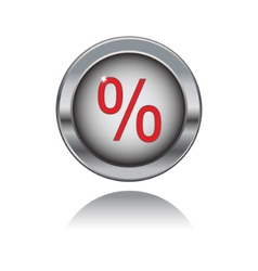 metal button with percent sign vector image vector image