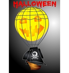 Pirate airship in halloween vector image vector image