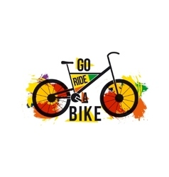 quote go ride a bike on bright colored vector image vector image